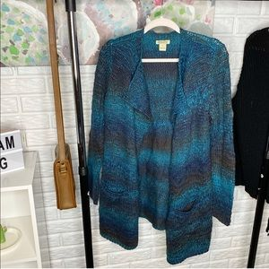 Lucky Brand Blue Open Front Knit Cardigan
